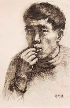 马亦秀的绘画作品《中年男子》
