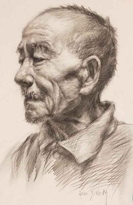 柯雅涵的绘画作品《慈祥的老爷爷》
