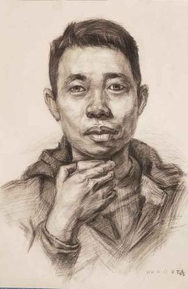 余梦鑫的绘画作品《青年男子》