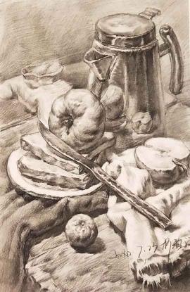 柯雅涵的绘画作品《不锈钢静物组合》