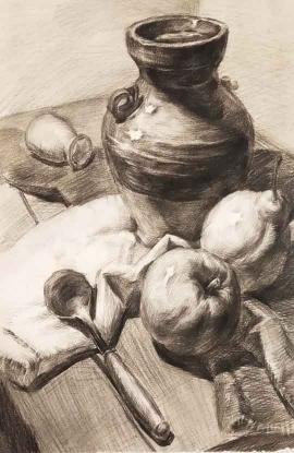 田果的绘画作品《陶罐静物组合》