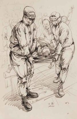 田果的绘画作品《抗疫》