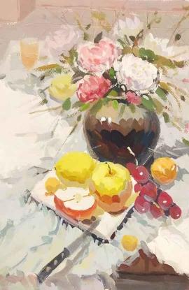 张露露的彩绘作品《花卉》